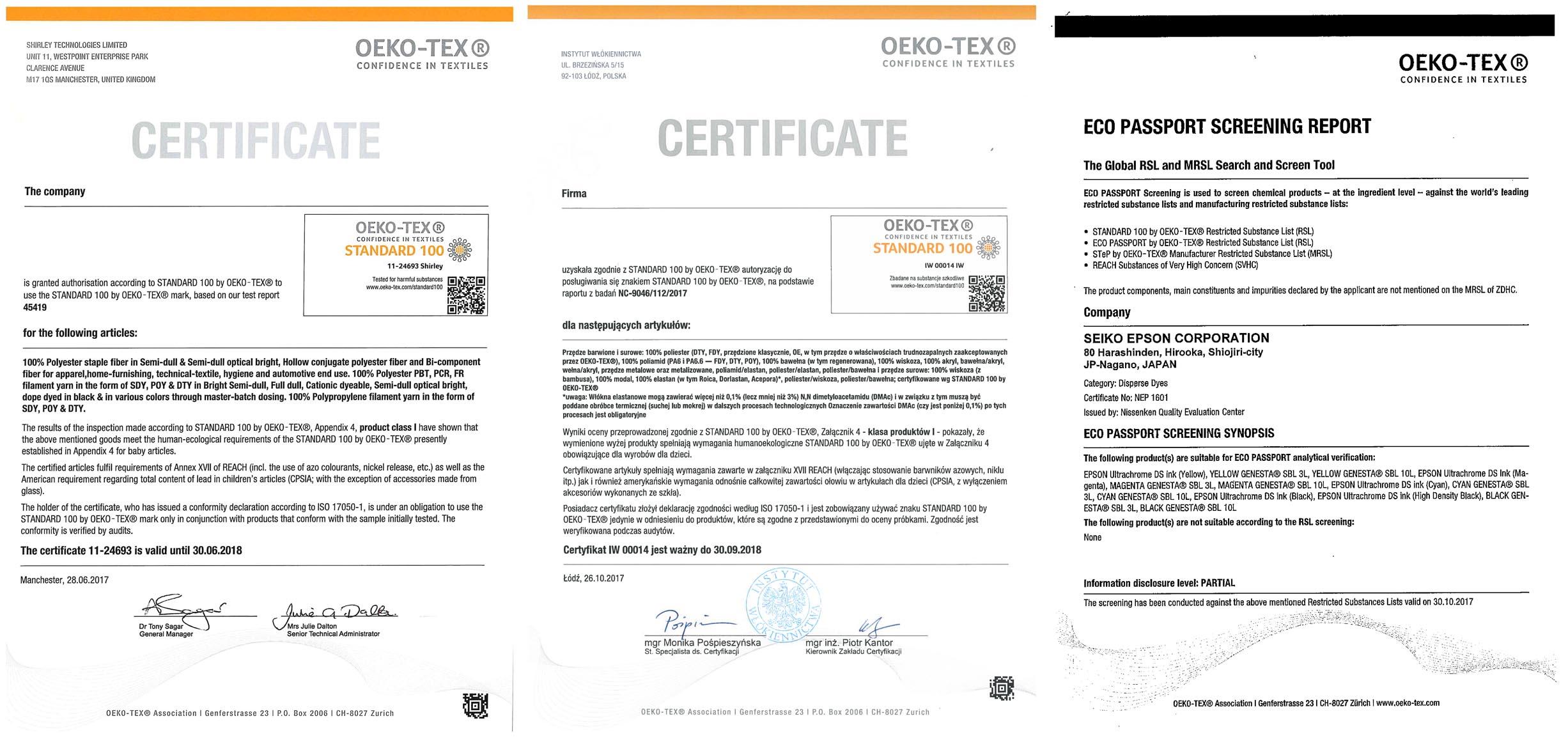 Certyfikaty Poduszkownia